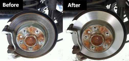 picture of brake disc before and after machining